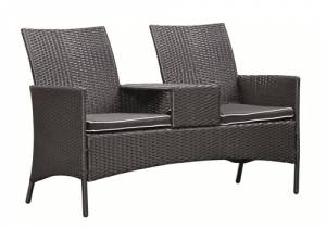 wicker loveseat brentwood zwart